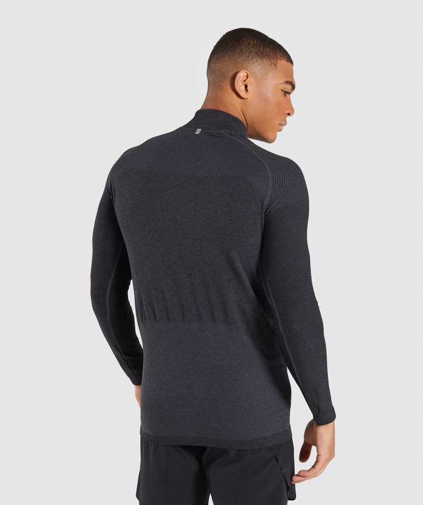 Gymshark Premium Seamless 1/4 Zip Pullover- Charcoal Marl 2