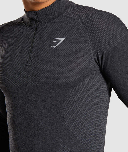 Gymshark Premium Seamless 1/4 Zip Pullover- Charcoal Marl 3