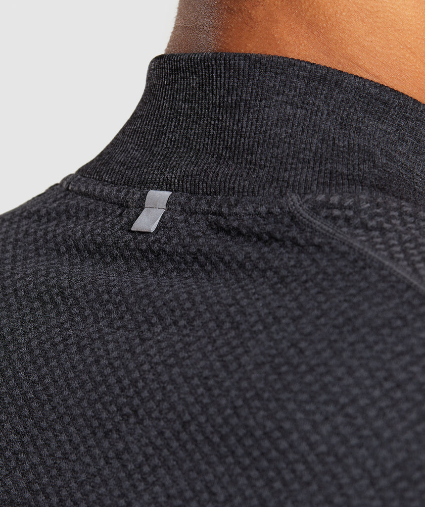 Gymshark Premium Seamless 1/4 Zip Pullover- Charcoal Marl 5