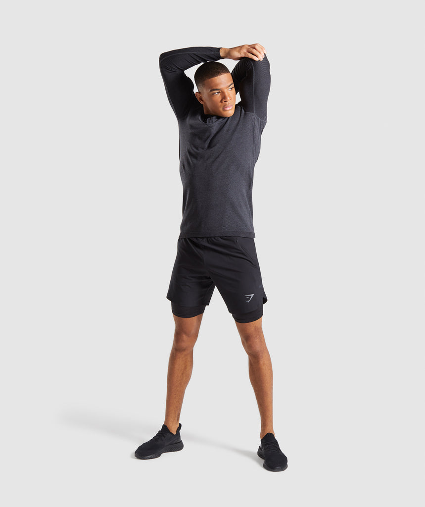 Gymshark Premium Seamless 1/4 Zip Pullover- Charcoal Marl 6