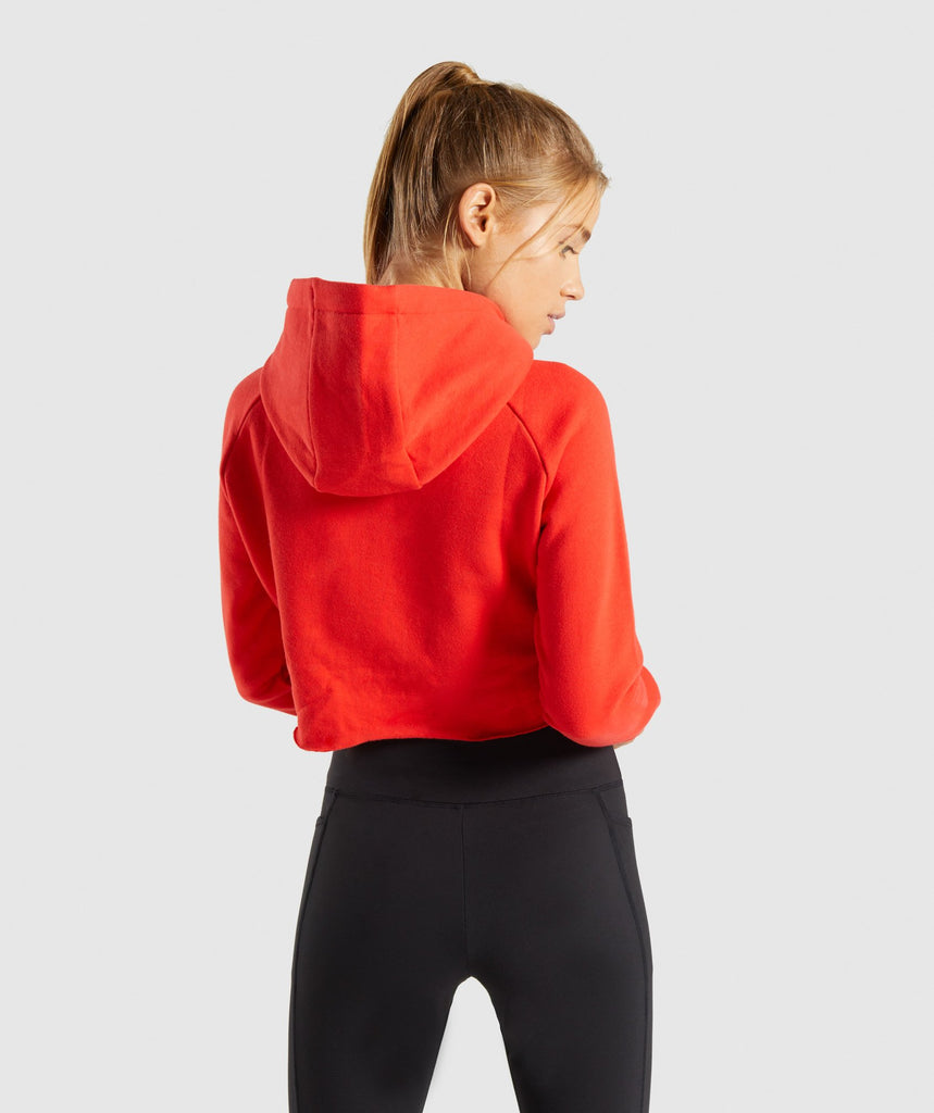 Gymshark Primary Cropped Raw Edge Hoodie - Pop Red 2