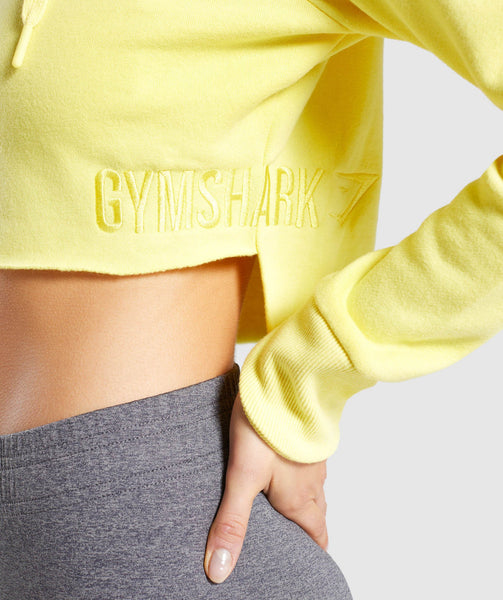 Gymshark Primary Cropped Raw Edge Hoodie - Pop Yellow 4