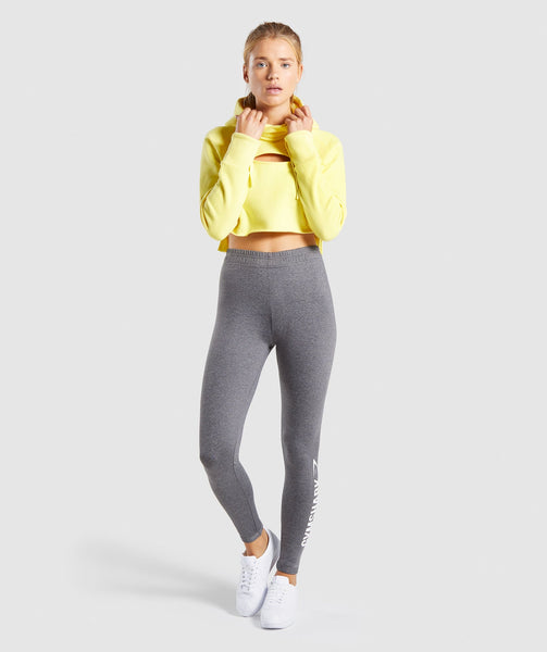 Gymshark Primary Cropped Raw Edge Hoodie - Pop Yellow 3