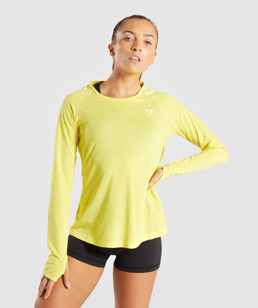 Gymshark Primary Open Cross Back Long Sleeve - Pop Yellow 4