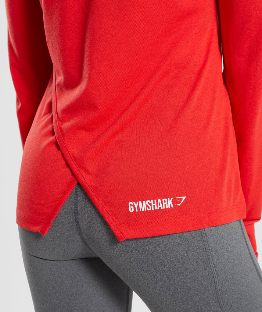 Gymshark Primary Open Cross Back Long Sleeve - Pop Red 6