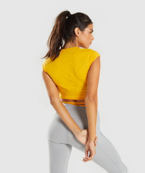Gymshark Ribbon Capped Sleeve Crop Top - Citrus Yellow 4