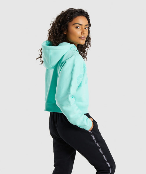 Gymshark Repeat Print Crop Pullover - Washed Turquoise 1