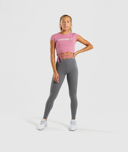Gymshark Ribbon Capped Sleeve Crop Top - Dusky Pink 3