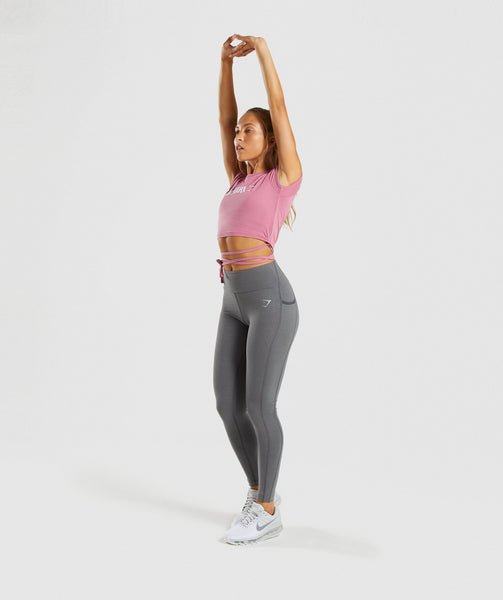 Gymshark Ribbon Capped Sleeve Crop Top - Dusky Pink 4