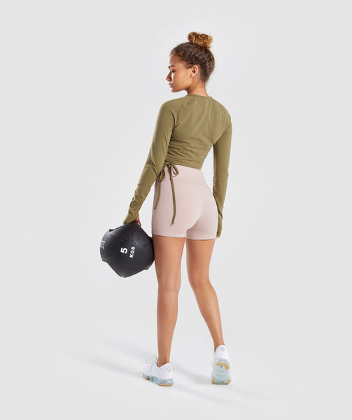 Gymshark Long Sleeve Ribbon Crop Top - Khaki 3