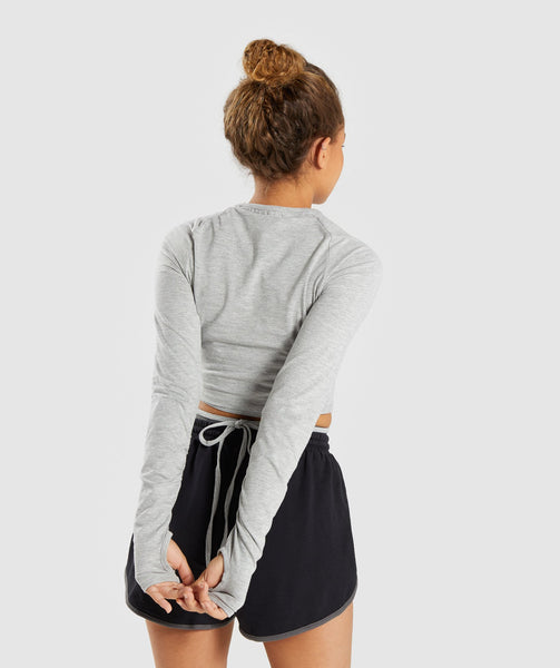 Gymshark Long Sleeve Ribbon Crop Top - Light Grey Marl 1