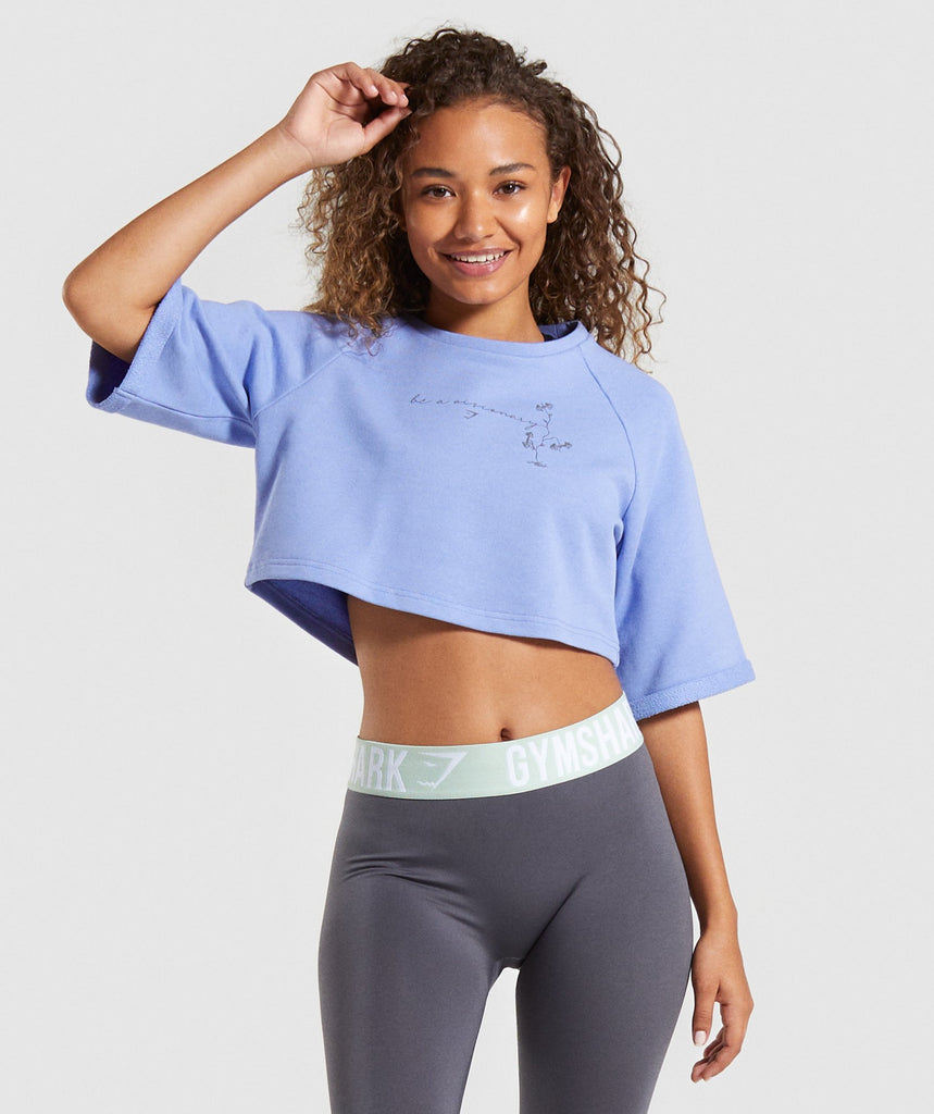 Gymshark Roots Boxy Cropped Sweater - Light Blue 1