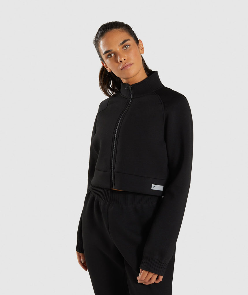 Gymshark Ruched Track Top Jacket - Black 1