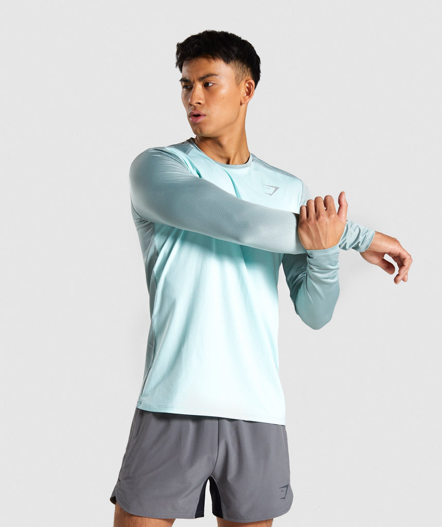 Gymshark Speed Long Sleeve T-Shirt - Turquoise 1
