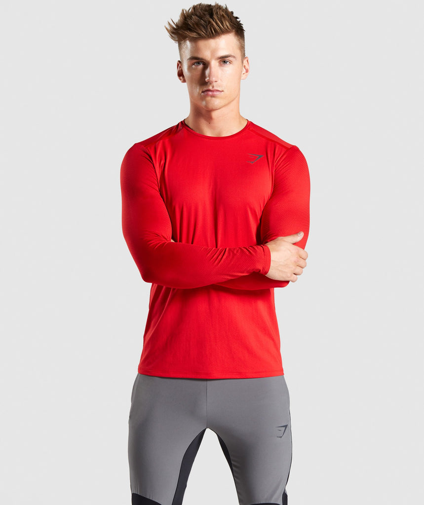 Gymshark Speed Long Sleeve T-Shirt - Red 1