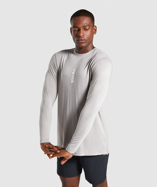 783f1775a141 Gymshark Shadow Long Sleeve T-Shirt - Grey | Gymshark