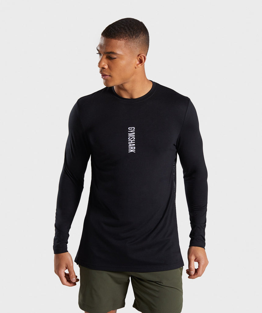 Gymshark Shadow Long Sleeve T-Shirt - Black 1