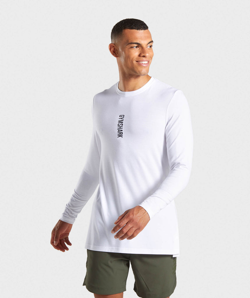 b0ea109b03ca Gymshark Shadow Long Sleeve T-Shirt - White 1