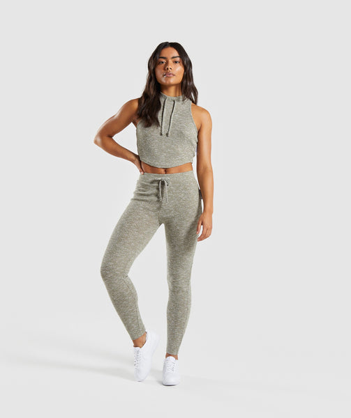 Gymshark Slounge Crop Top - Washed Khaki Marl 3