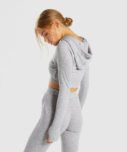 Gymshark Slounge Cropped Hoodie - Light Grey Marl 2