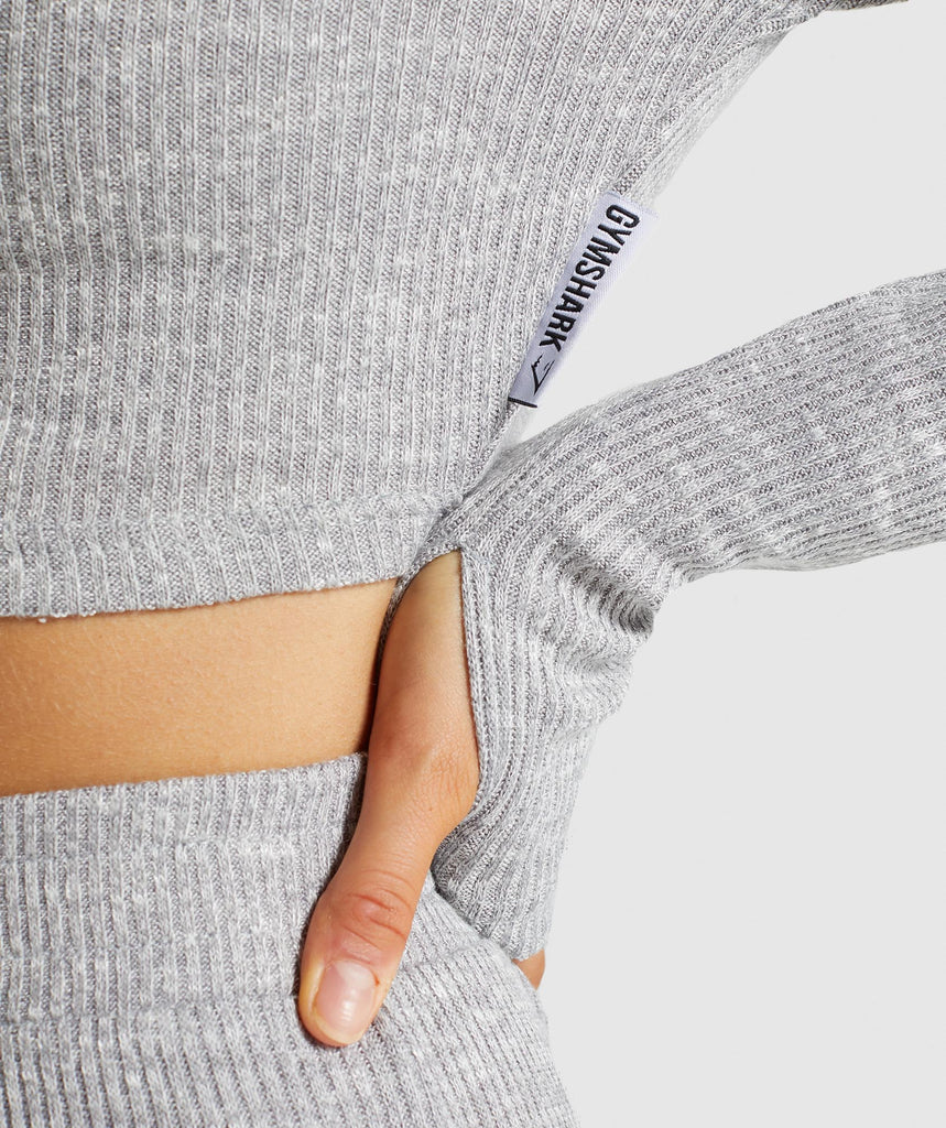 Gymshark Slounge Cropped Hoodie - Light Grey Marl 5