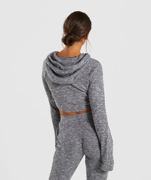 Gymshark Slounge Cropped Hoodie - Charcoal Marl 1