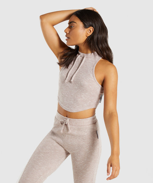 Gymshark Slounge Crop Top - Taupe Marl 4