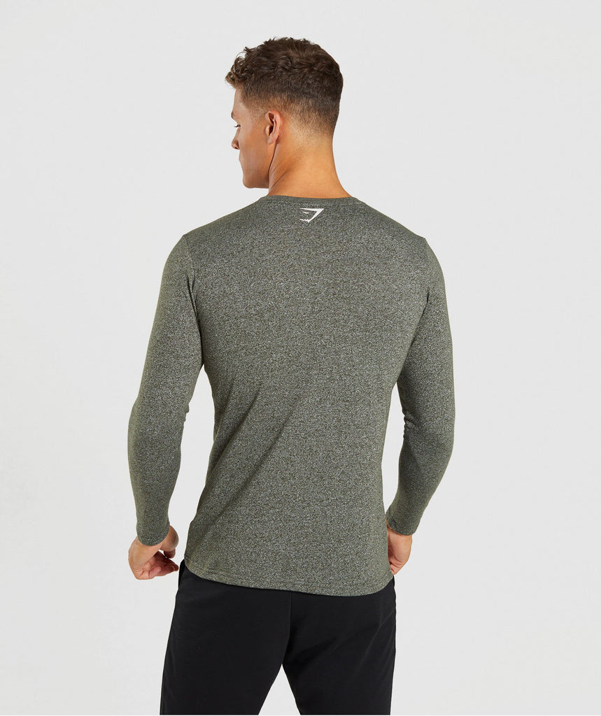 Gymshark Statement Long Sleeve T-Shirt - Woodland Green Marl 2