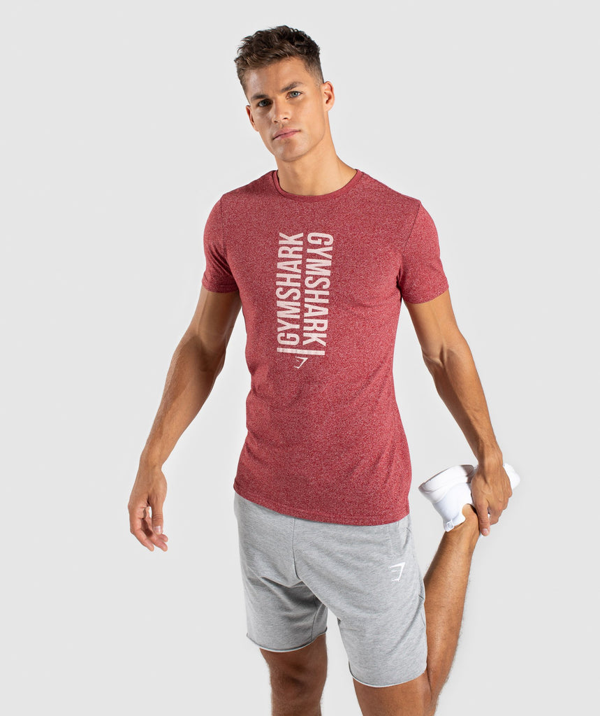 Gymshark Statement T-Shirt - Red Marl 1