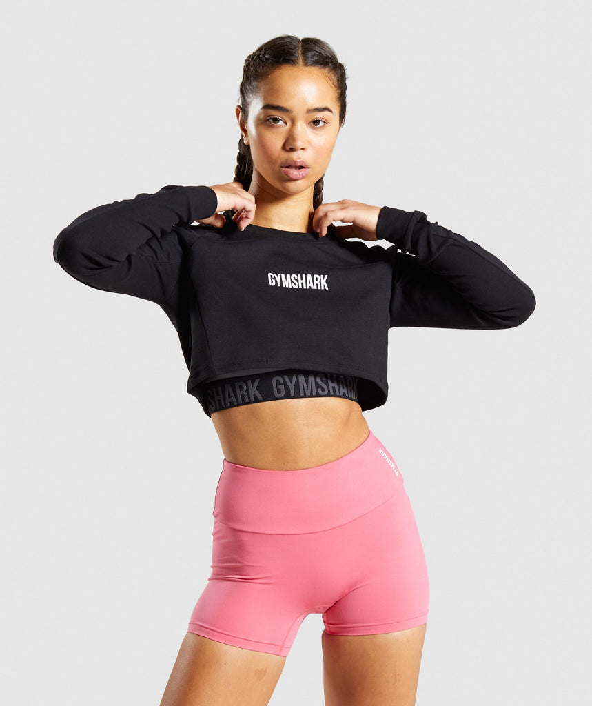 Gymshark Training Cropped Sweater - Black 1