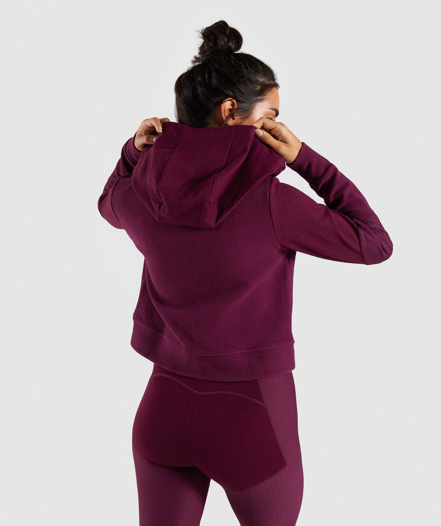 Gymshark True Texture Hooded Bomber Jacket - Dark Ruby 2