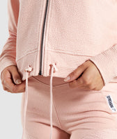Gymshark True Texture Hooded Bomber Jacket - Blush Nude 12