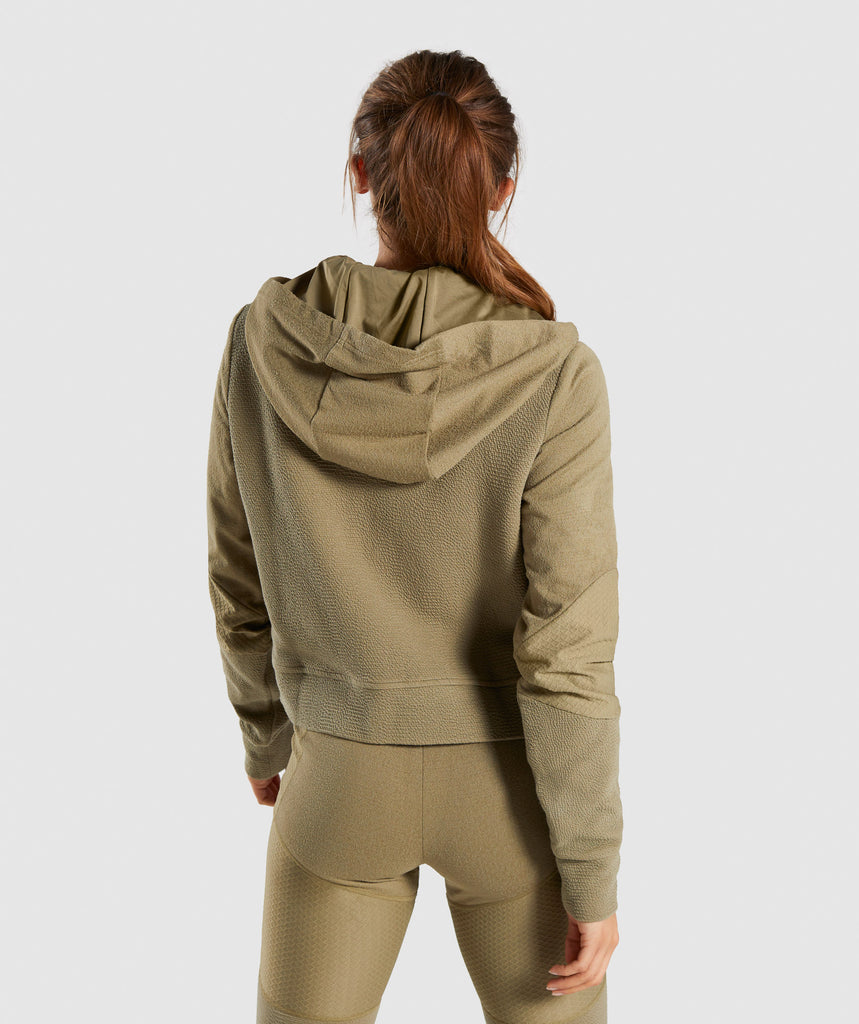 Gymshark True Texture Hooded Bomber Jacket - Washed Khaki 2