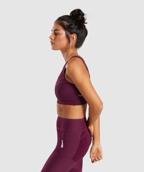 Gymshark True Texture Sports Bra - Dark Ruby 2