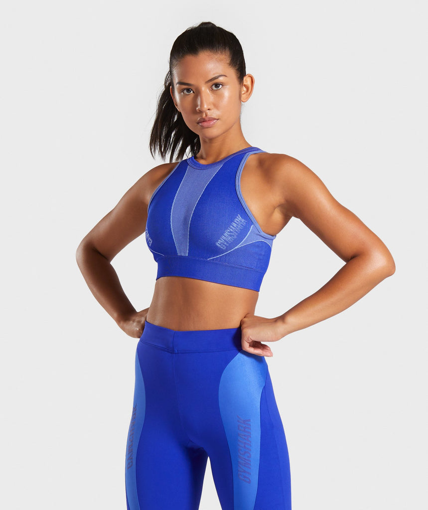 ed3d0e4b3d420d Gymshark Turbo Seamless Sports Bra - Cobalt Blue 1