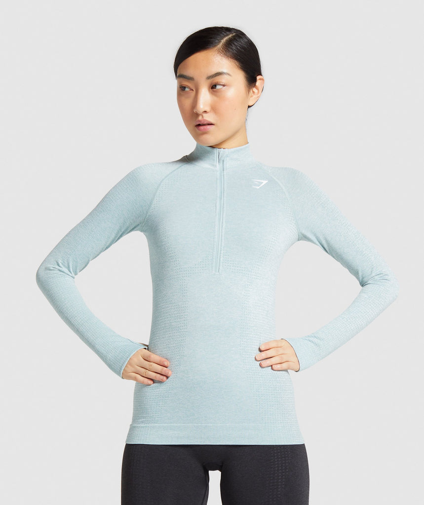Gymshark Vital Seamless 1/2 Zip Pullover - Light Green Marl 1