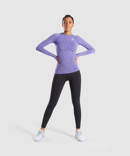 Full Length Indigo Marl Vital Seamless Long Sleeve T-Shirt Front 2
