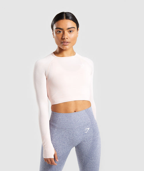 Gymshark Vital Long Sleeve Crop Top - Blush Nude Marl 4