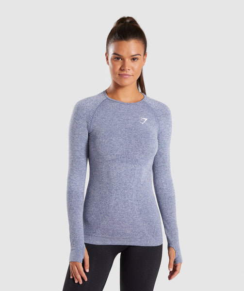 Full Length Steel Blue Marl Vital Seamless Long Sleeve T-Shirt Front 4