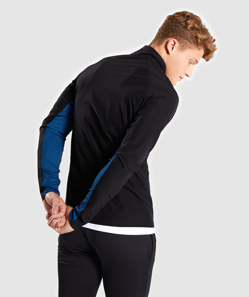 Gymshark Gravity Track Top - Black/Dive Blue 2