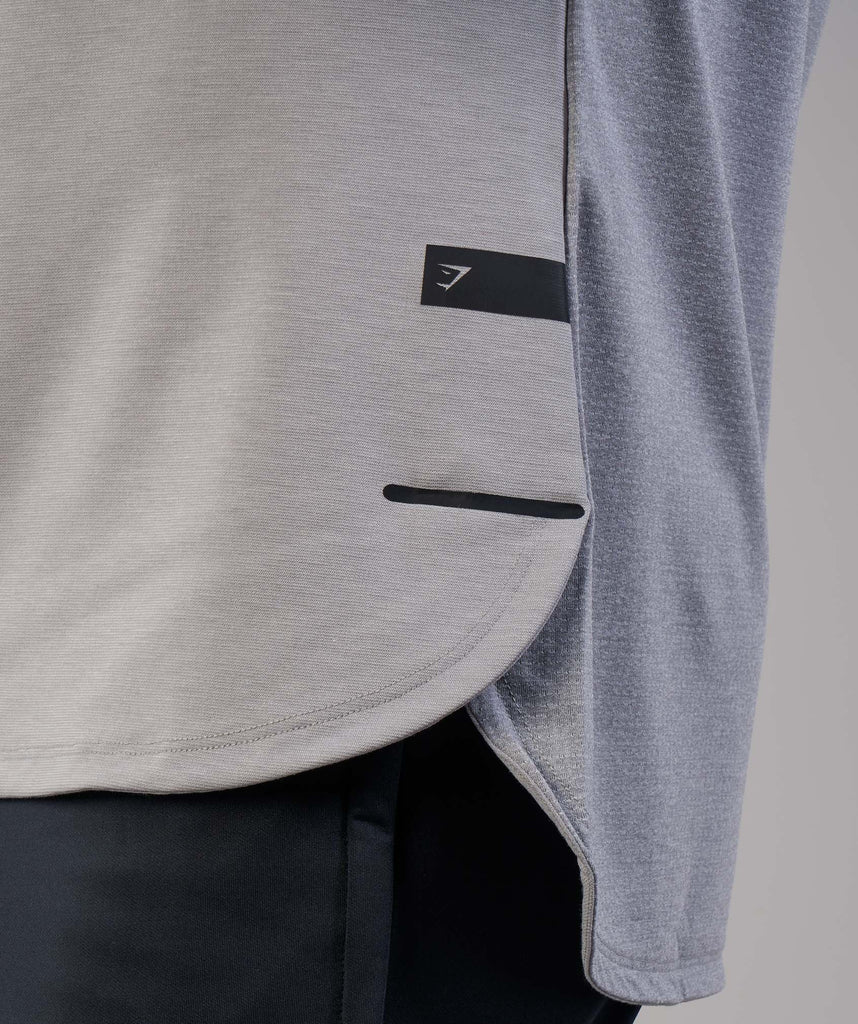 Gymshark Breathe Long Sleeve T-Shirt - Light Grey Marl 2