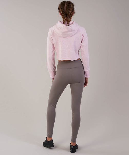 Gymshark Cropped Raw Edge Hoodie - Chalk Pink Marl 1
