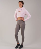 Gymshark Cropped Raw Edge Hoodie - Chalk Pink Marl 7