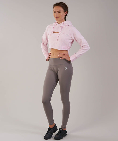 Gymshark Cropped Raw Edge Hoodie - Chalk Pink Marl 4