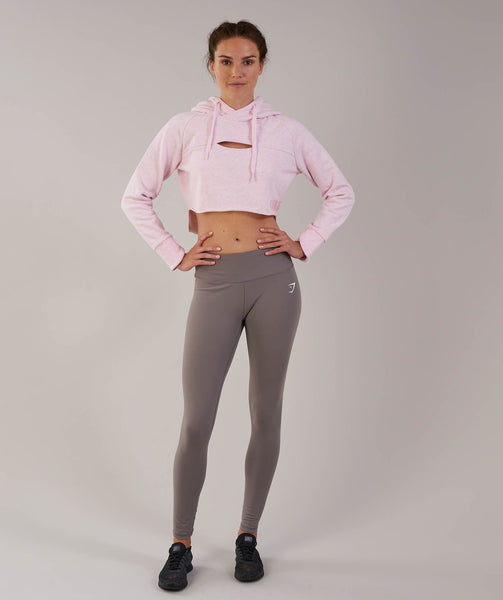 Gymshark Cropped Raw Edge Hoodie - Chalk Pink Marl 3