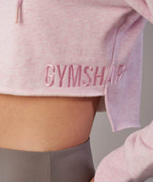 Gymshark Cropped Raw Edge Hoodie - Chalk Pink Marl 12