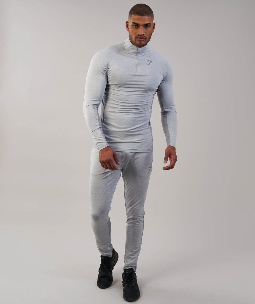 Gymshark Fallout 1/4 Zip Pullover - Light Grey Marl 1