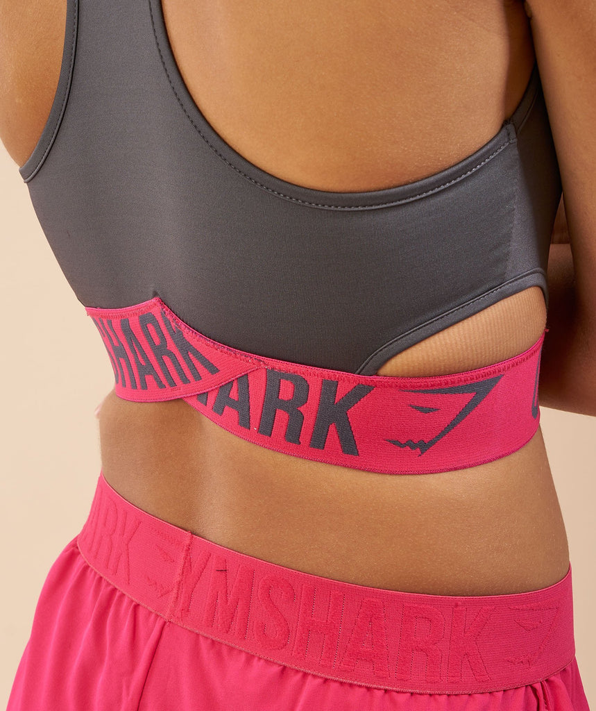 Gymshark Fit Sports Bra - Charcoal/Cranberry 6