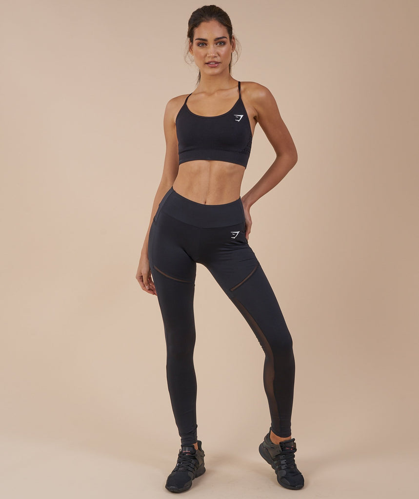 Gymshark Simply Mesh Leggings - Black 1