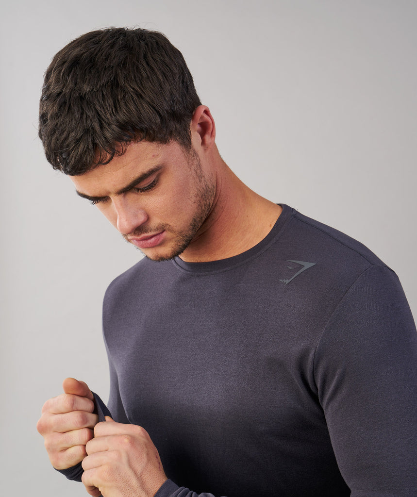 Gymshark Ombre Long Sleeve T-Shirt - Charcoal/Black 5